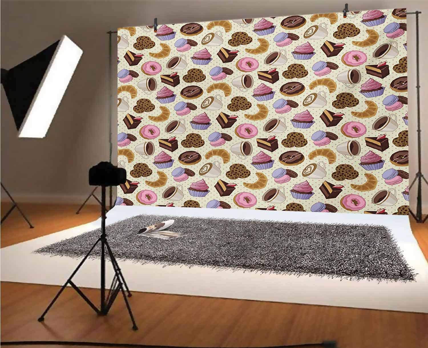 Coffee 10x8 FT Vinyl Photography Backdrop,Coffee Shop Themed Image with Cups Sweet Cookies Cake Chocolate Artwork Pattern Background for Baby Birthday Party Wedding Studio Props Photography