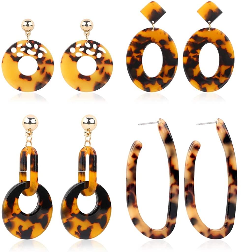 SEVENSTONE 4 Pcs Acrylic Dangle Drop Earrings Statement Mottled Boho for Women Resin Tortoise Fashion Jewelry Set