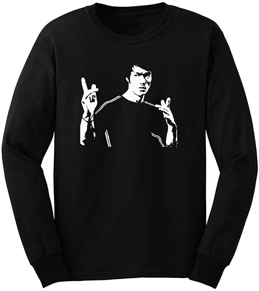 Mens Bruce Lee Jeet Kune Do Kung Fu Long Sleeve T-Shirts for Men Graphic Novelty Sarcastic Shirts