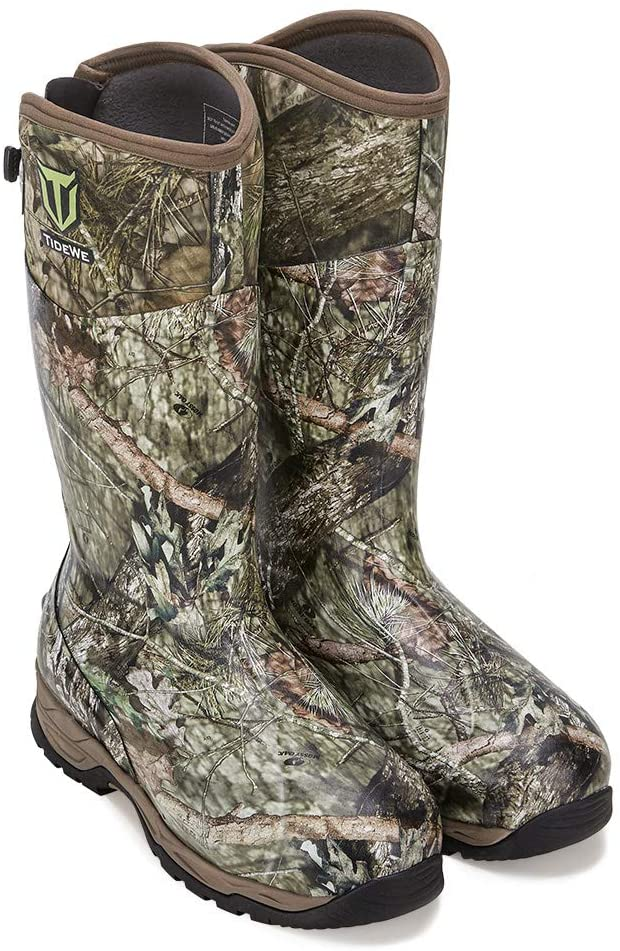TIDEWE Rubber Hunting Boots with 800g Insulation, Waterproof Insulated Mossy Oak Country Camo Warm Rubber Boots with 6mm Neoprene, Durable Outdoor Muck Hunting Boots for Men (Size 10)