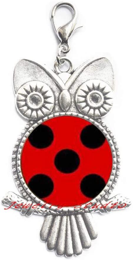 Ladybug Owl Zipper Pull, Ladybug Charm, Ladybug Lobster Clasp, Ladybug Jewelry, Ladybug, Ladybug Birthday, Ladybug Gifts,Animal Jewelry,Animal Charm-HZ0121