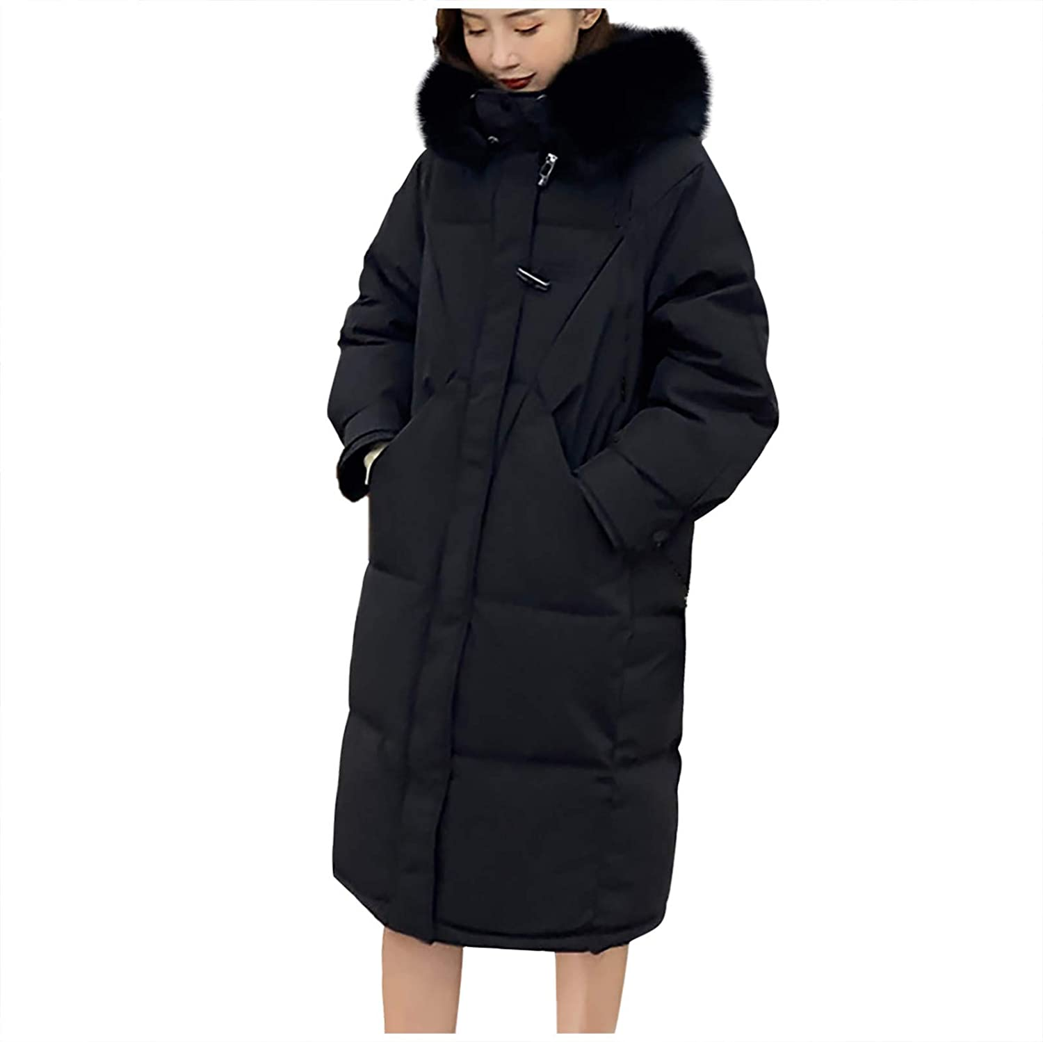 Womens Thickened Down Jacket Winter Coats ,Long-Sleeve Full-Zip Hooded Outerwear