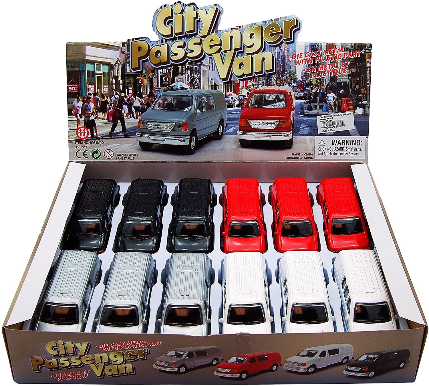 City Passenger Van Diecast Car Package - Box of 12 4.75 Inch Scale Diecast Model Cars, Assorted Colors