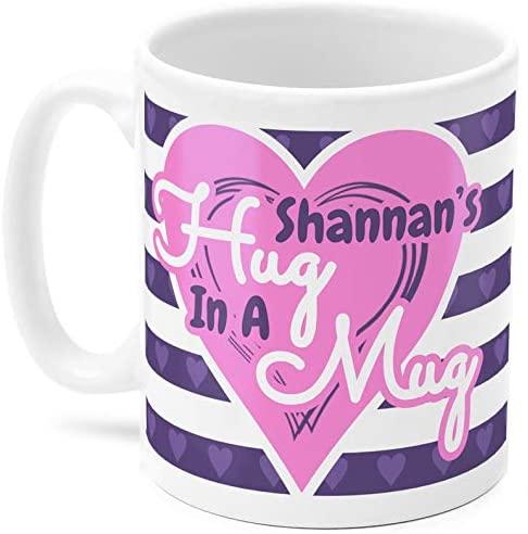 Shannan mug Shannan39s Hug in a Mug Name gift Purple and pink