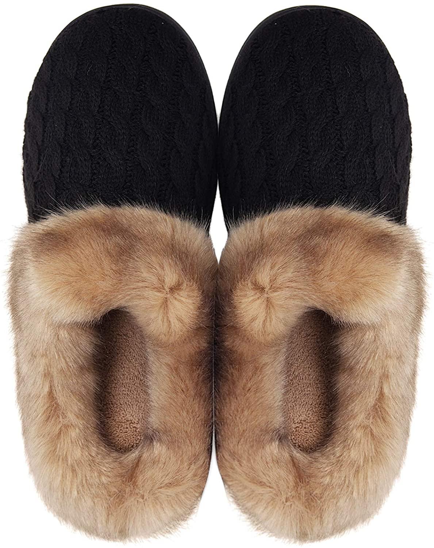 Women's Memory Foam Slippers Comfort Wool-Like Plush Fleece Lined House Shoes for Indoor & Outdoor