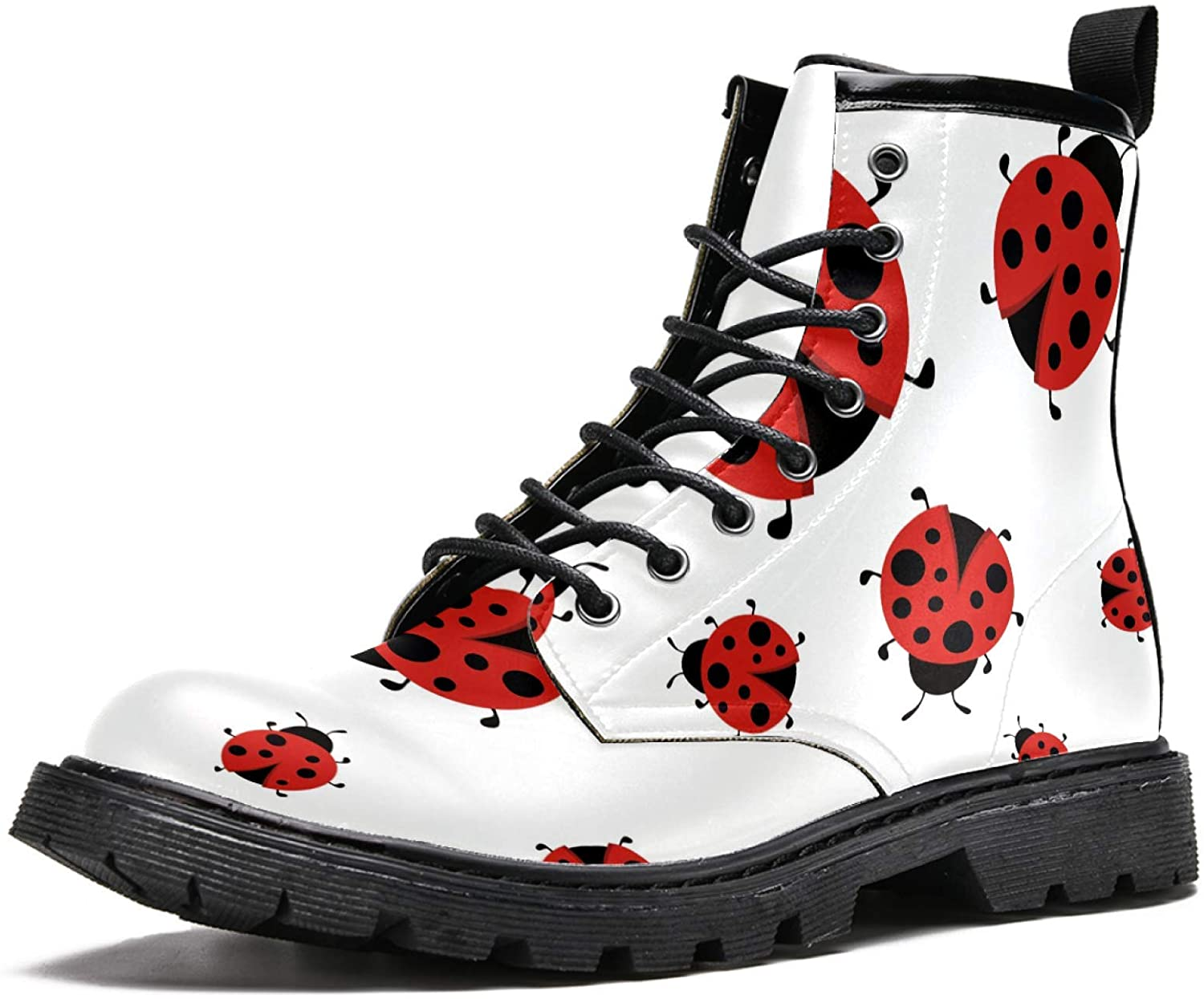 LORVIES Ladybugs Pattern Men's High Top Boots Lace Up Casual Leather Ankle Shoes