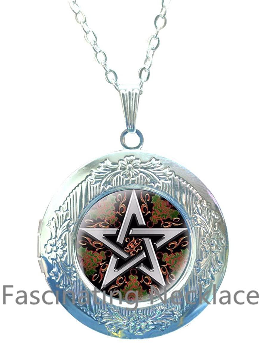Statement Locket Necklace Esoteric PenTagram Glass Locket Necklace Cabochon Link Chain Choker Fashion Women Jewelry,AE0093