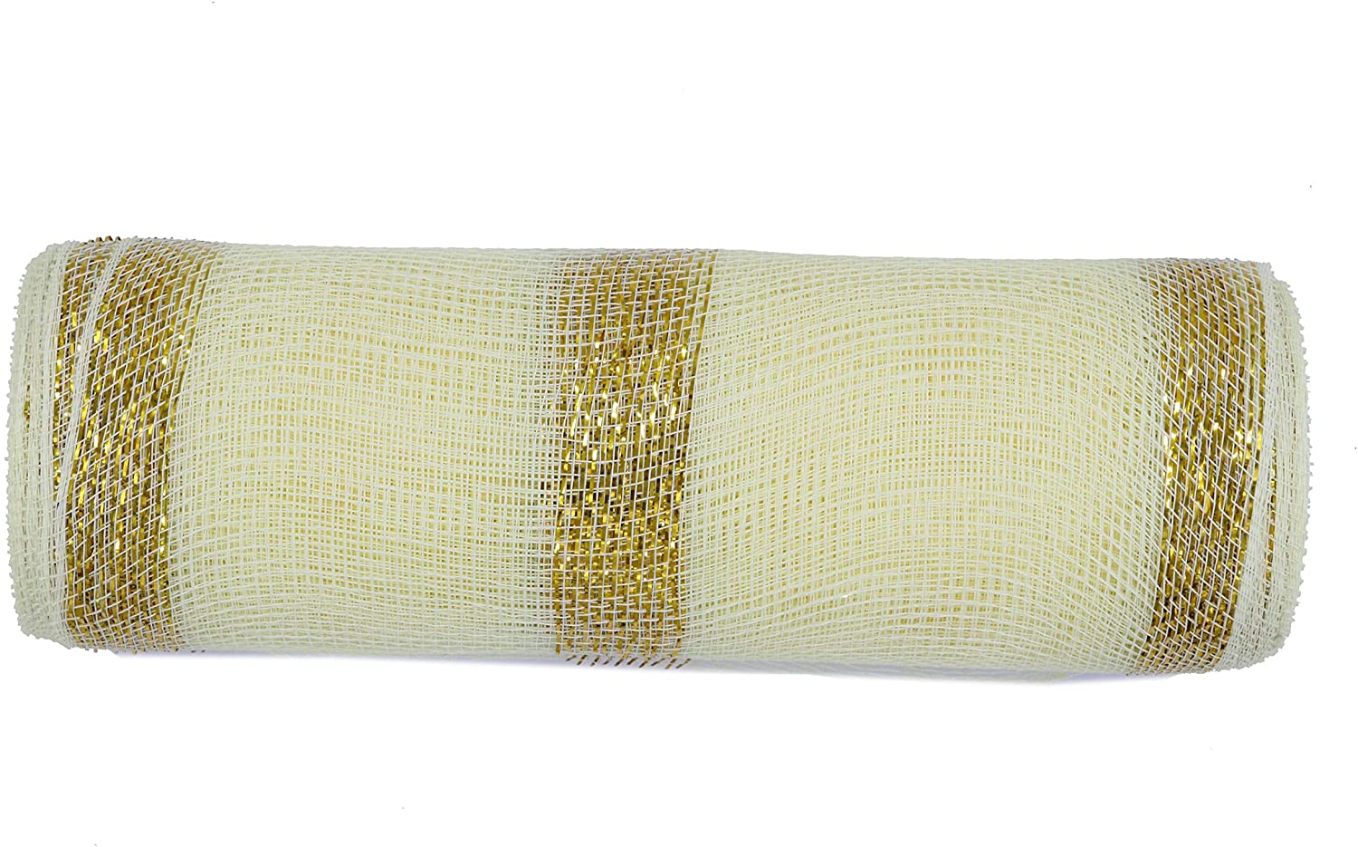 10 inch x 30 feet(10 Yards)-YYCRAFT Metallic Deco Poly Mesh Ribbon for Decoration/Wreath Making Craft(Ivory/Gold Style 2)