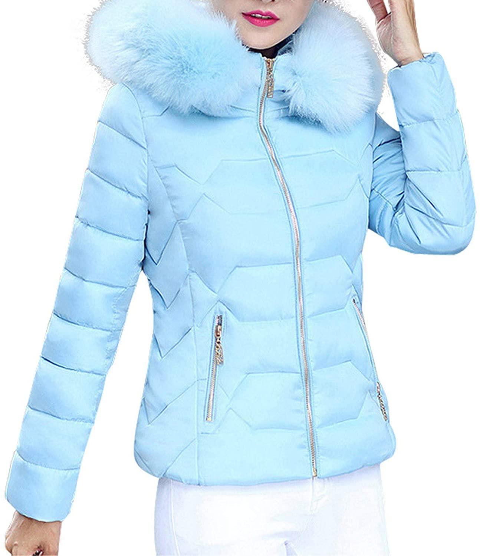 Womens Winter Thick Jacket Faux Fur Collar Zipper Pocket Coat Warm Cotton Hoodie Outwear
