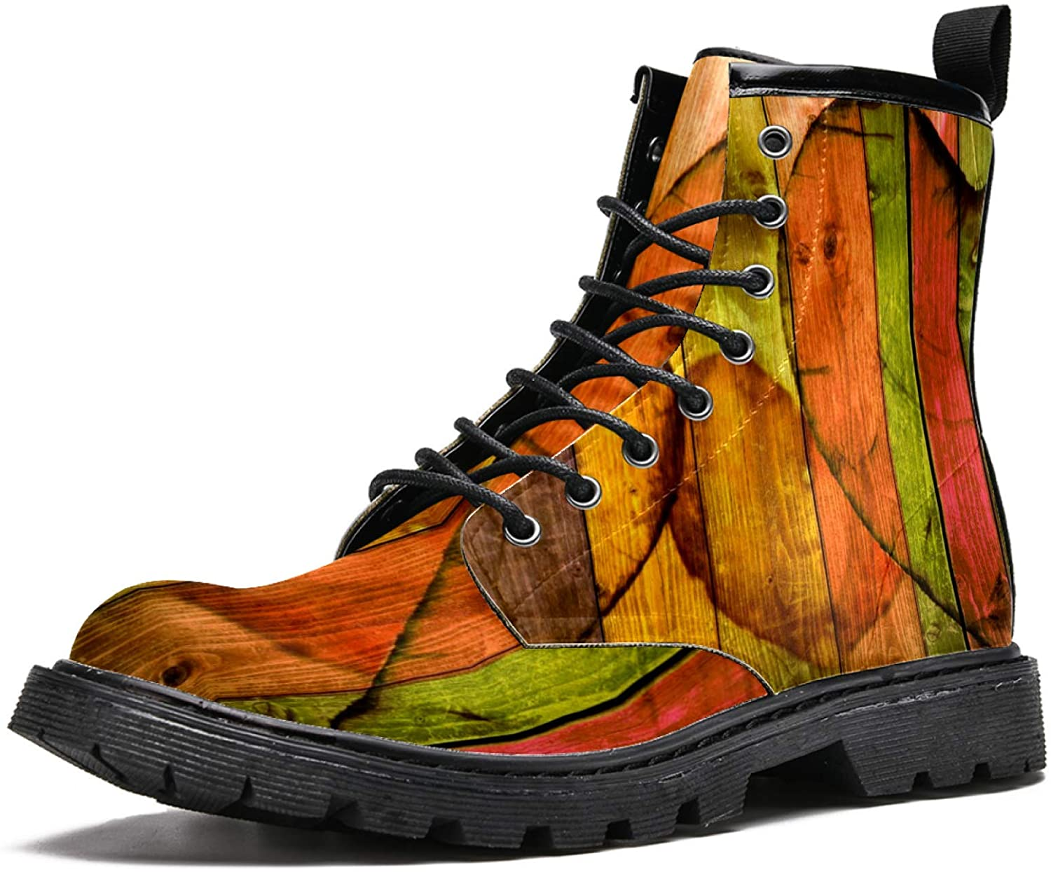 LORVIES Colorful Wood with Heart Men's High Top Boots Lace Up Casual Leather Ankle Shoes