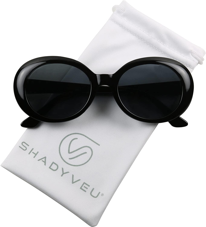 ShadyVEU Retro Oval Clout Goggles 90's Gang Kurt Cobain Neutral Color Smoke Black Lens Sunglasses