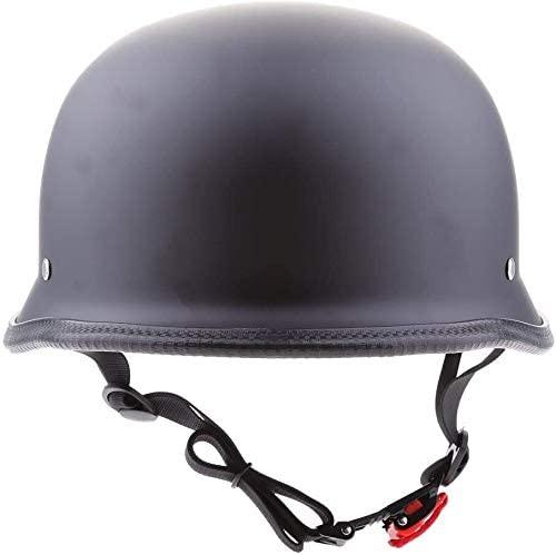 JIANXING Durable Motorcycle Half Helmet Low Profile Skull Cap Matte Black Chopper - Matte Black Motorcycle Accessories (Size : L)