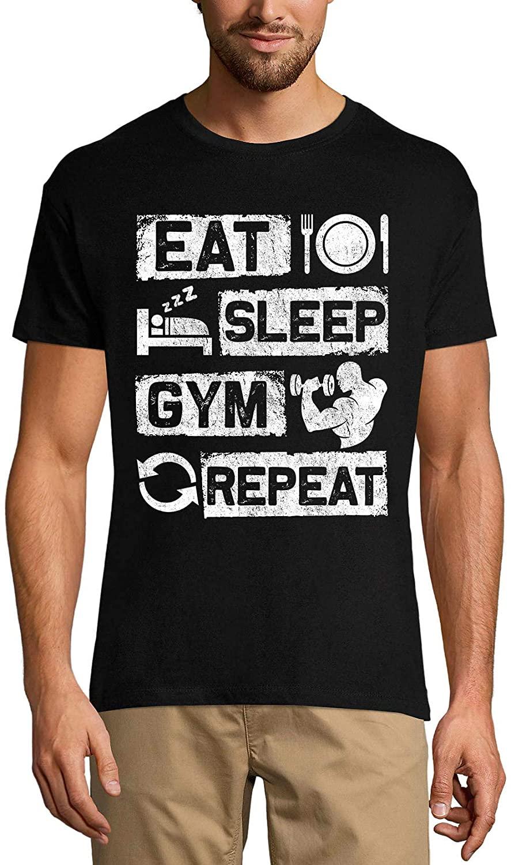 Ultrabasic Men's Graphic T-Shirt Eat Sleep Gym Repeat - Motivational Slogan Shirt