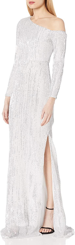 Linlinjoy Women's One Shoulder Long Sleeve Sequin Irregular Split Maxi Floor-Length Party Dress