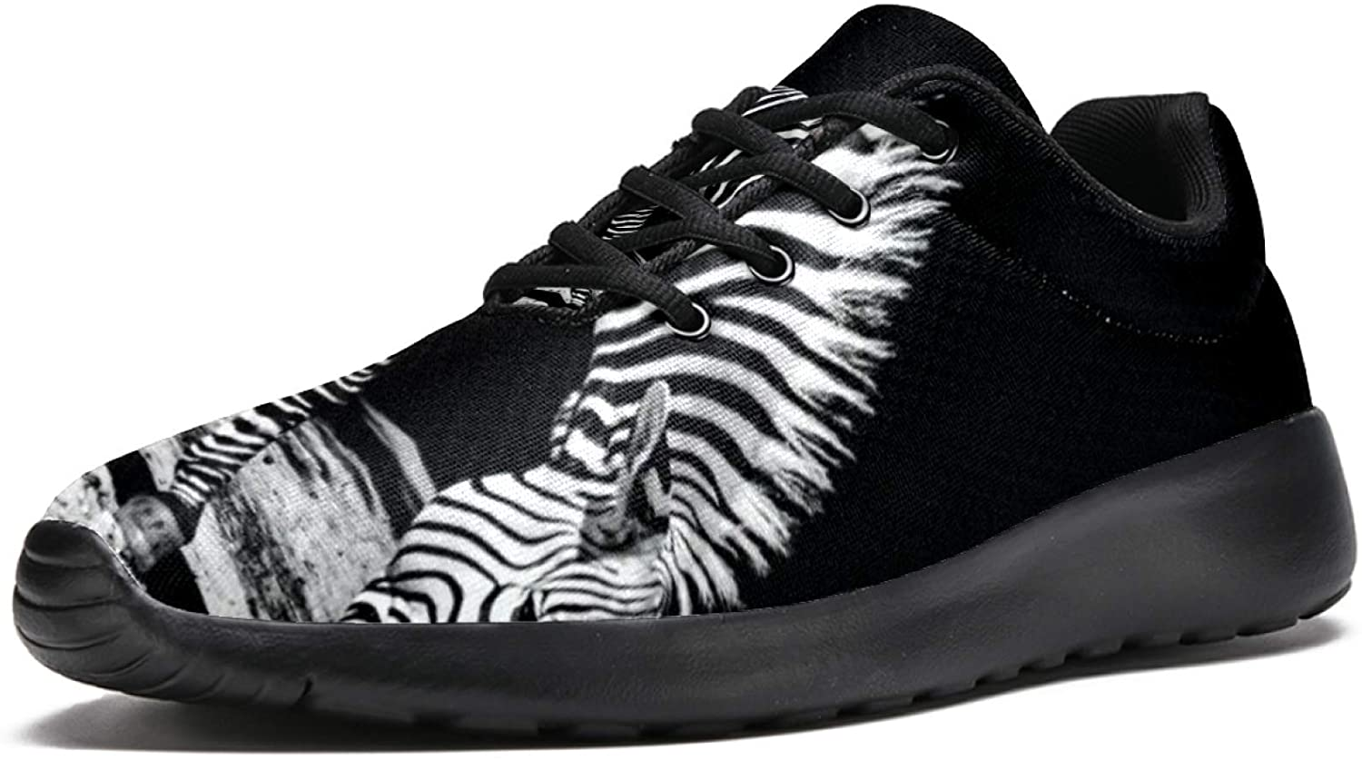LORVIES Walking Shoes for Men Casual Lace Up Lightweight Running Shoes Zebra Black White Walk Sneaker