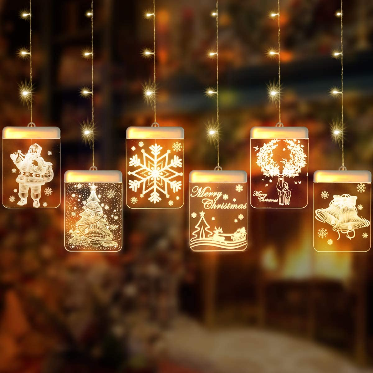 FYYZY Christmas Decorative Novelty Hanging 3D Lights with Suction Cup and Remote Control for Indoor Windows Pathway Patio Bedroom Warm White (Multi)