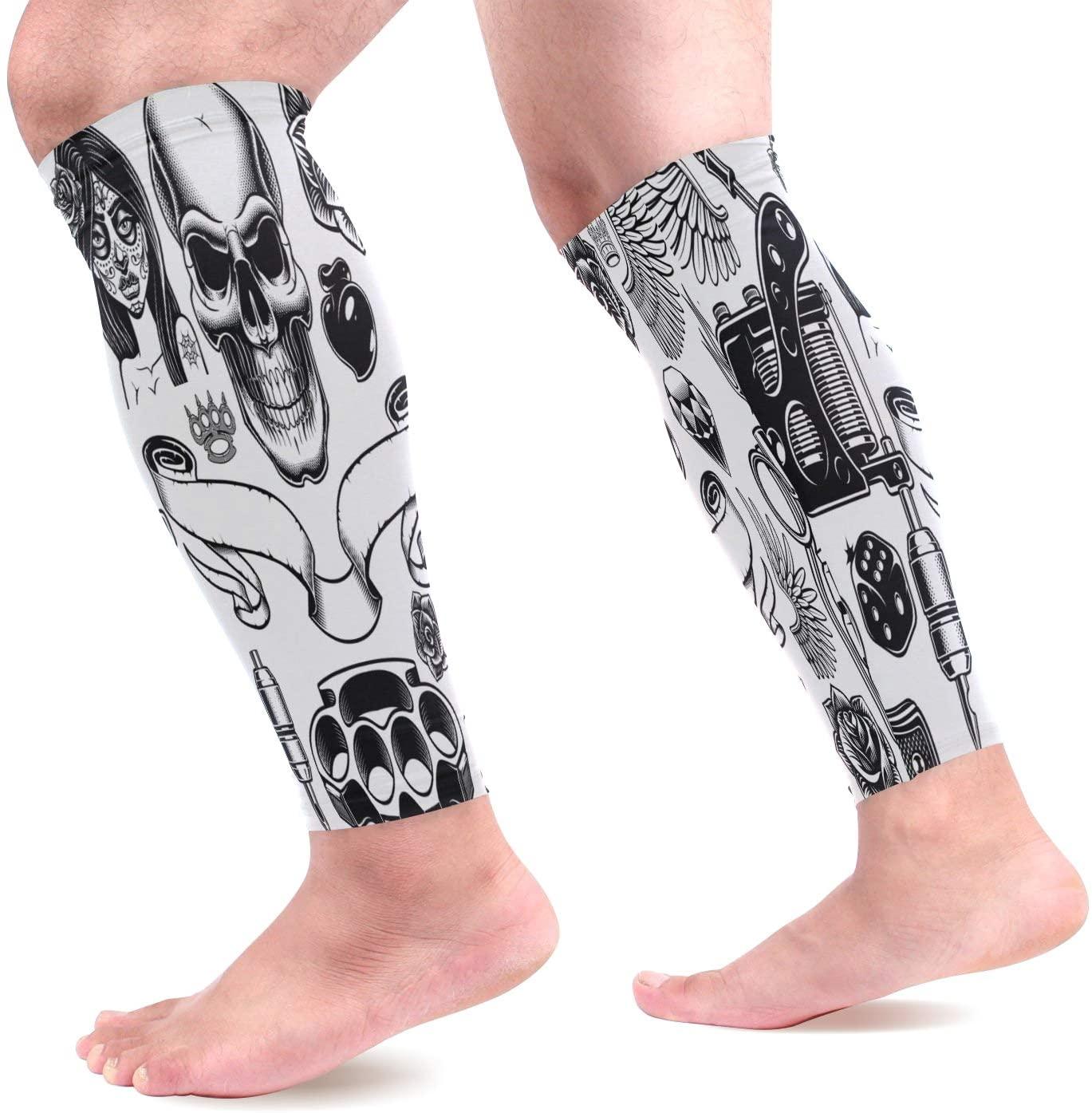 Calf Compression Sleeves Tattoo Art Leg Compression Socks for Runners, Shin Splint, Varicose Vein & Calf Pain Relief - Calf Guard for Running, Cycling, Maternity, Travel, Nurses Women