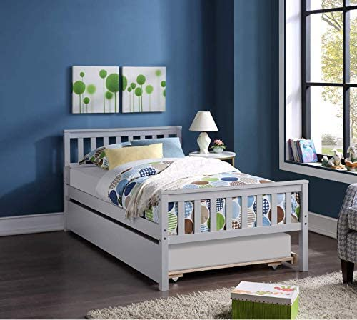 Depointer Life Twin Bed Frame with Trundle,Platform Twin Bed with Pull Out Trundle.Solid Wood Bed for Teens Boys Girls Adults Guests,No Box Spring Needed(Grey)