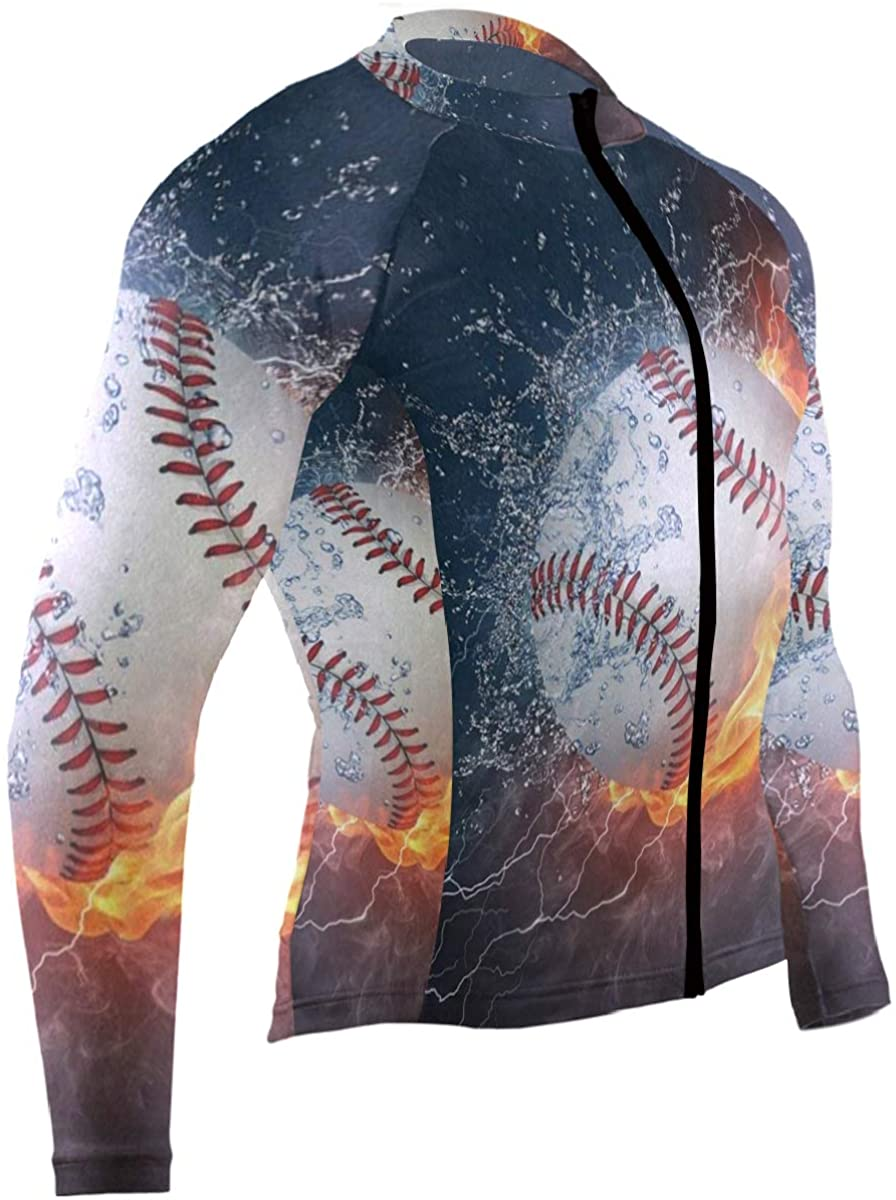 SLHFPX Sport Baseball in Fire and Water Mens Cycling Jersey Jacket Long Sleeve Mountain Bicycle Clothes Outfit