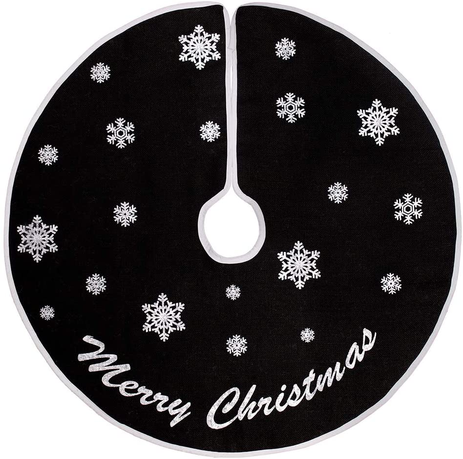 HOHOTIME Christmas Tree Skirt, 30 Inch Black Burlap Tree Skirt with White Snowflakes, for Xmas Holiday Home Decoration