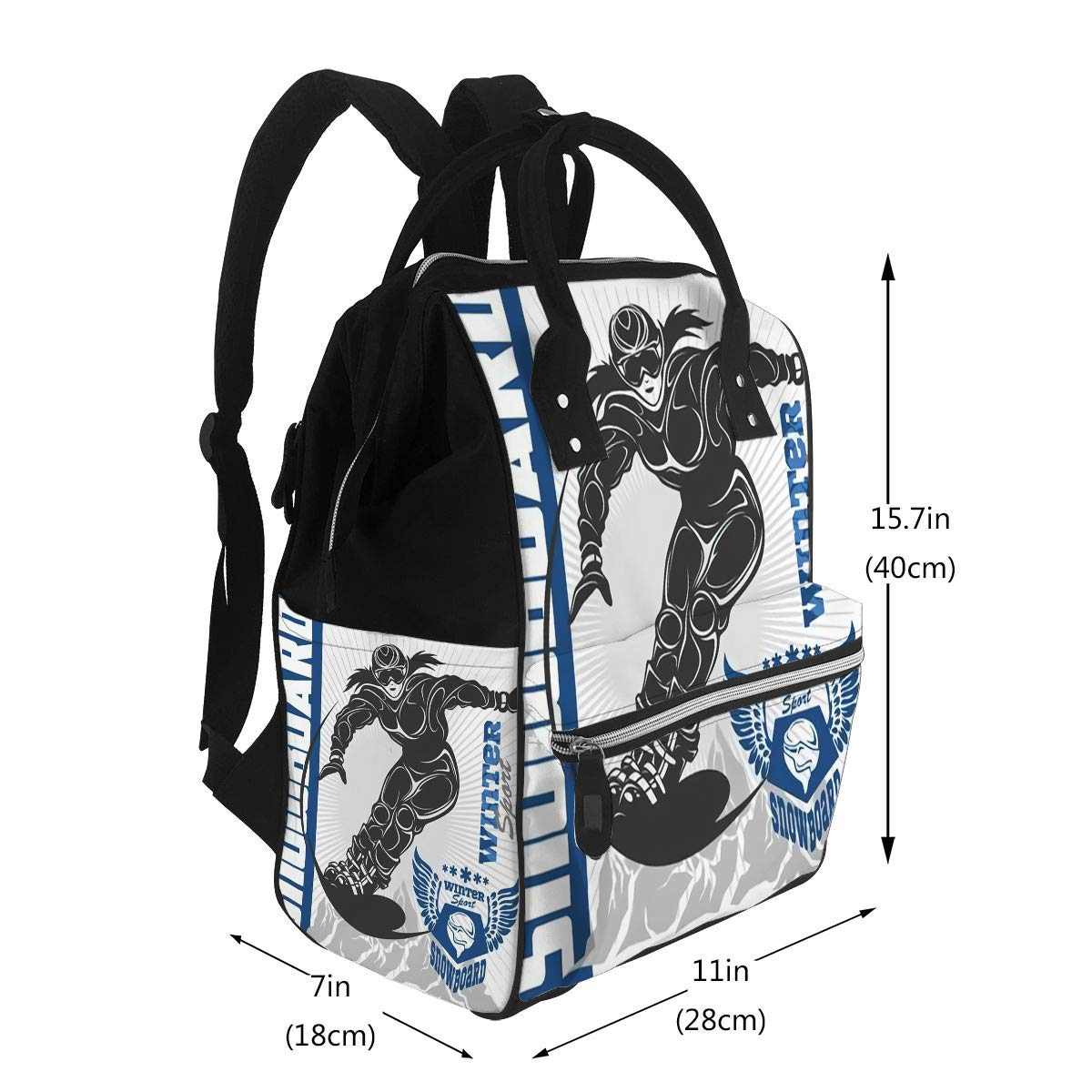 Diaper Bags Mummy Backpack Multi Functions Large Capacity Snowboarding Emblem and Designed Elements Extreme Winter Games Outdoors Adventure Nappy Bag Nursing Bag for Baby Care for Traveling