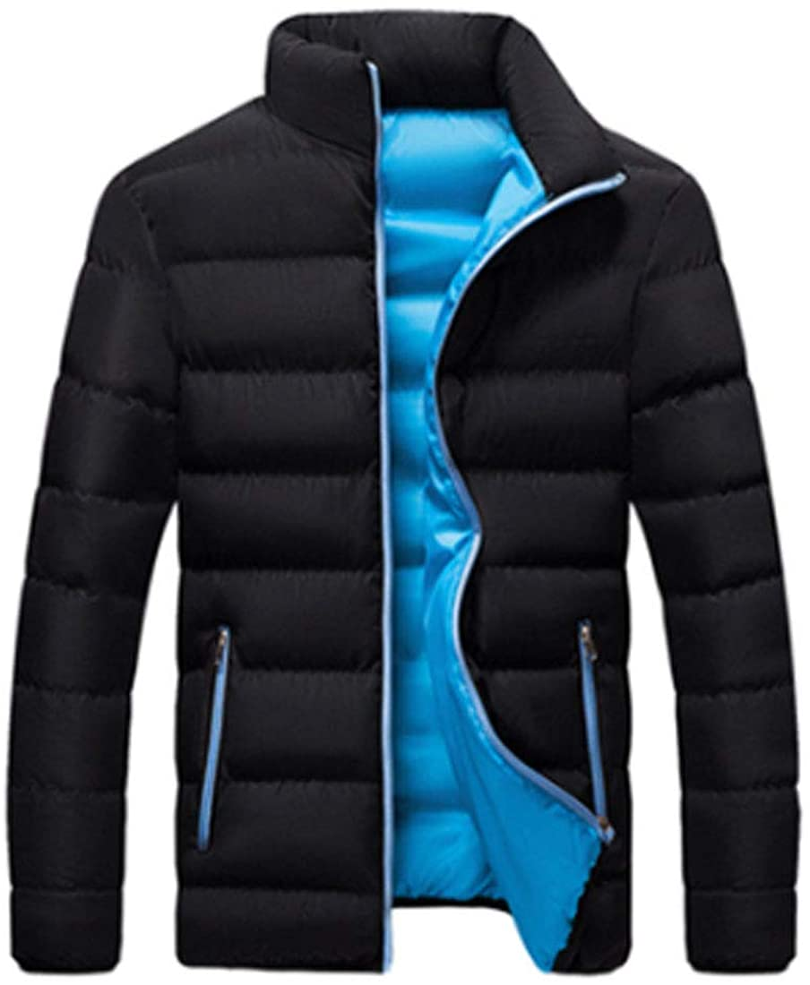 HZCX FASHION Mens Thicken Quilted Puffer Jacket Warm Winter Coat Windbreaker 2020110202-BBL-US XL TAG 6XL Black Blue