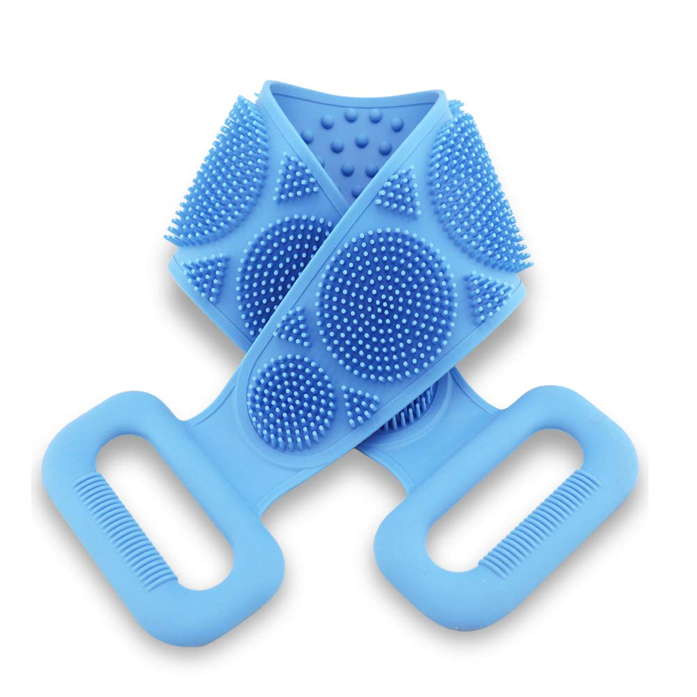 Back Scrubber for Shower, Silicone shower brush, Massage Exfoliating Back Scrubbing Strap for Shower,Easy to Clean Long Two Sided Bath Brush Belt for Women