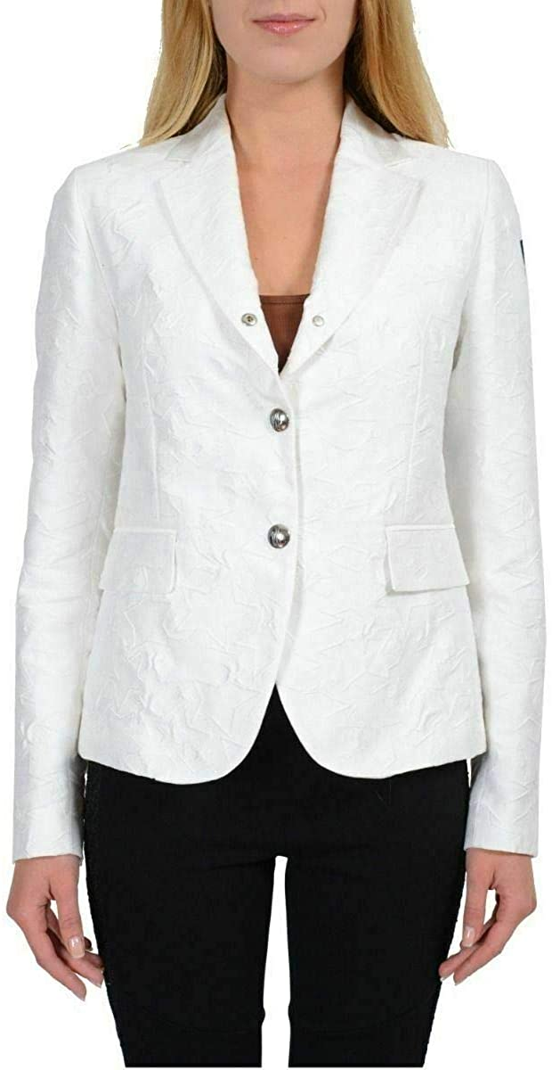 Moncler Women's Silk White Three Buttons Basic Jacket Sz 1 /US S