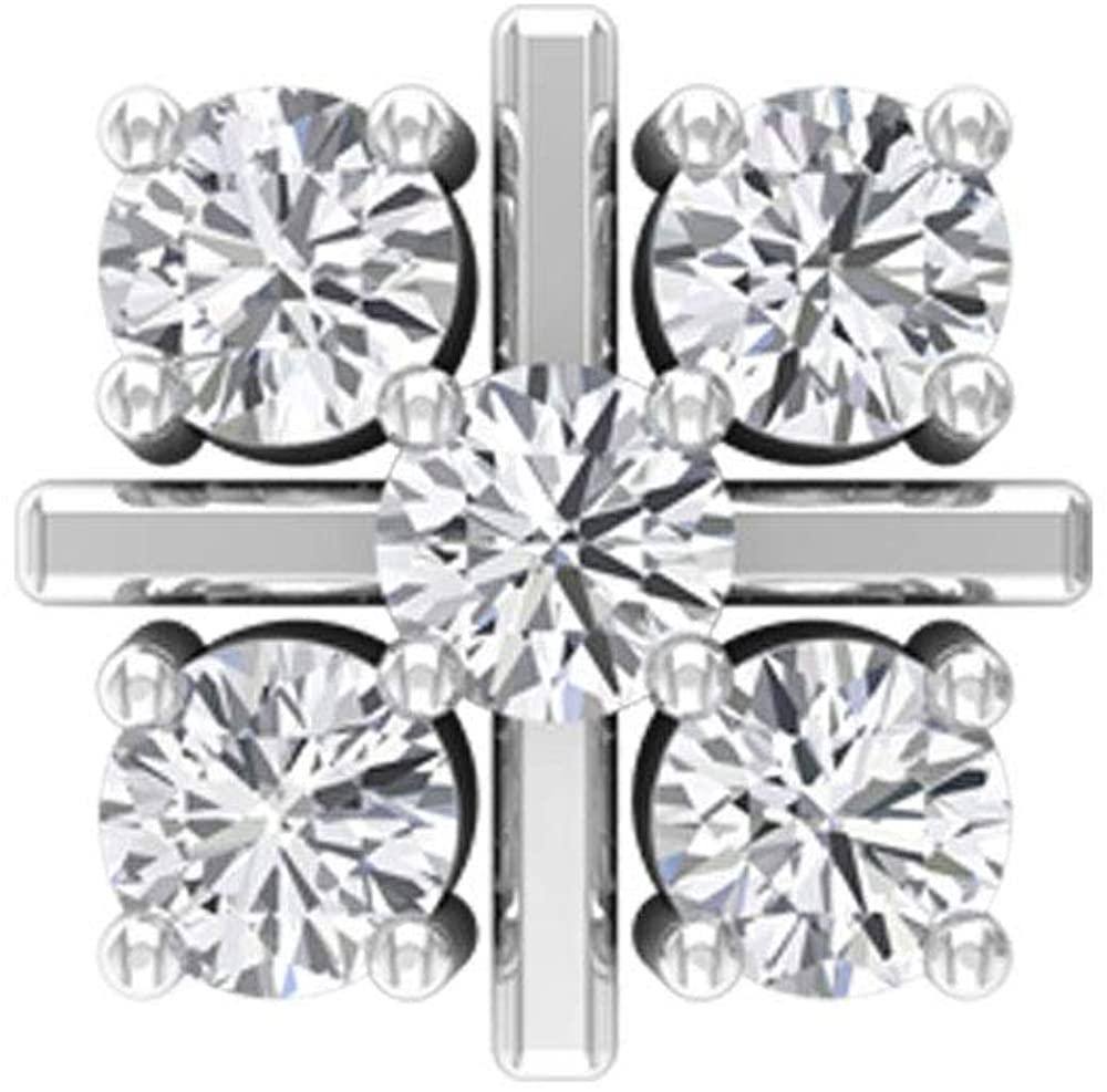 0.12 Ct SGL Certified Diamond Cluster Earring, Flower Wedding Earring, Bridesmaid Cartilage Earring, Stackable Cartilage Earring, Body Jewellery, Body Jewellery, Single Piece, 14K Gold