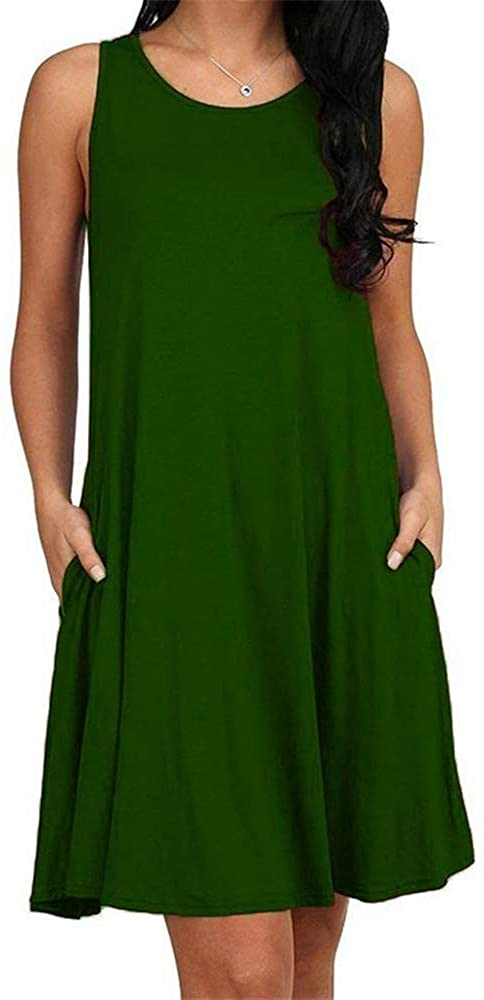 ALL LIKE Women Casual Summer Dress Plus Size O-Neck Tank Top Loose Clothing Side Pocket Fashion Sexy Ladies Solid Sleeveless Dresses 5XL S Dark Green