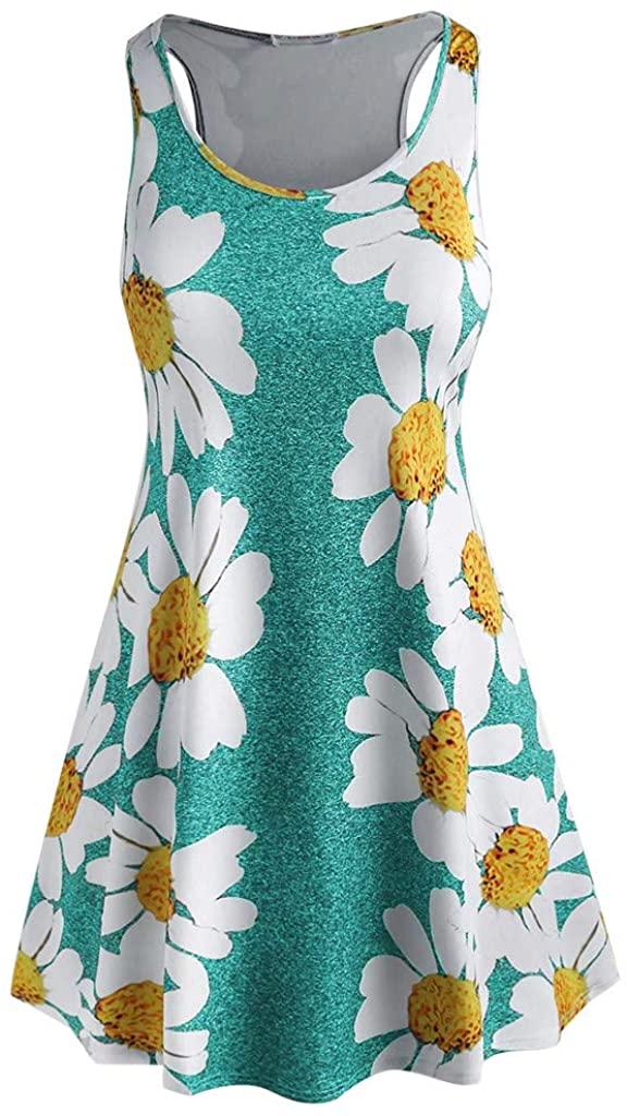 TRENDINAO Womens Daisies Dresses, Summer Casual Smock Sundress Sleeveless Spaghetti Strap Beach Swing Skater Midi Dress
