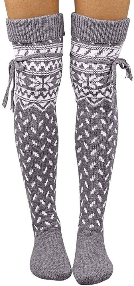 Pervobs Christmas Women Middle Stockings Cute Cotton Xmas Elk Print Tube Sock Lacing Warm Calf Leggings