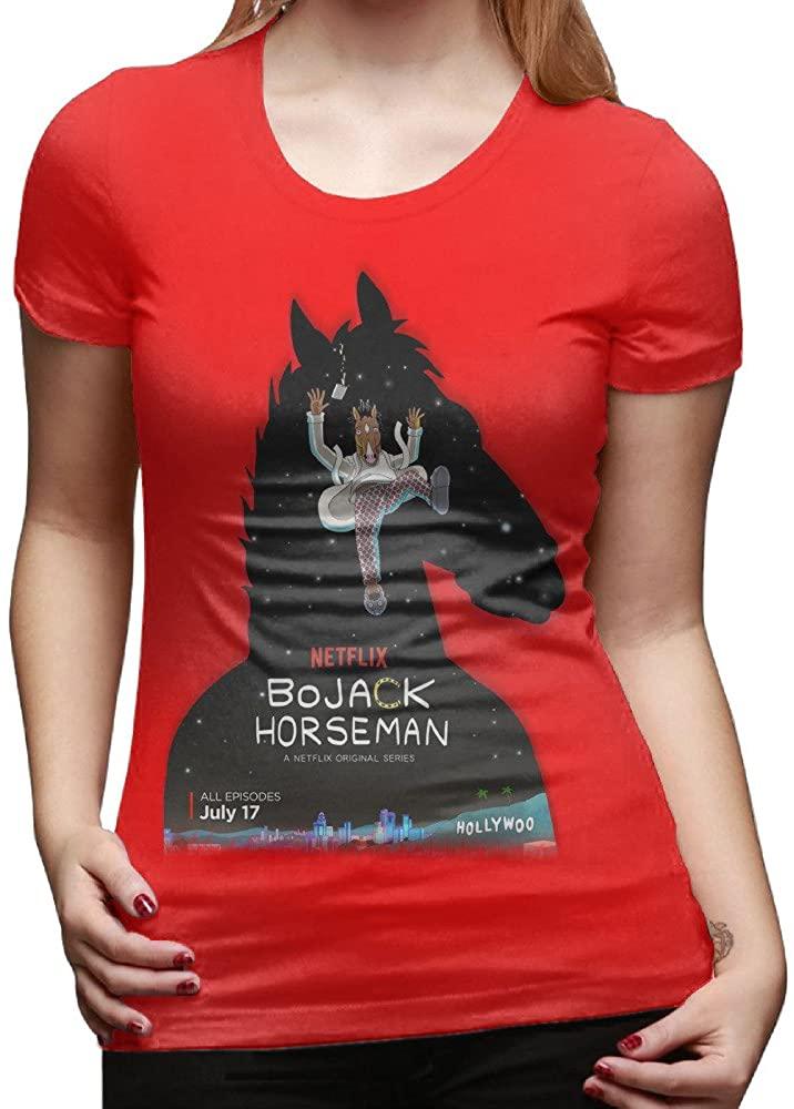 GOOOET Women's BoJack Horseman Logo Cotton T-Shirts