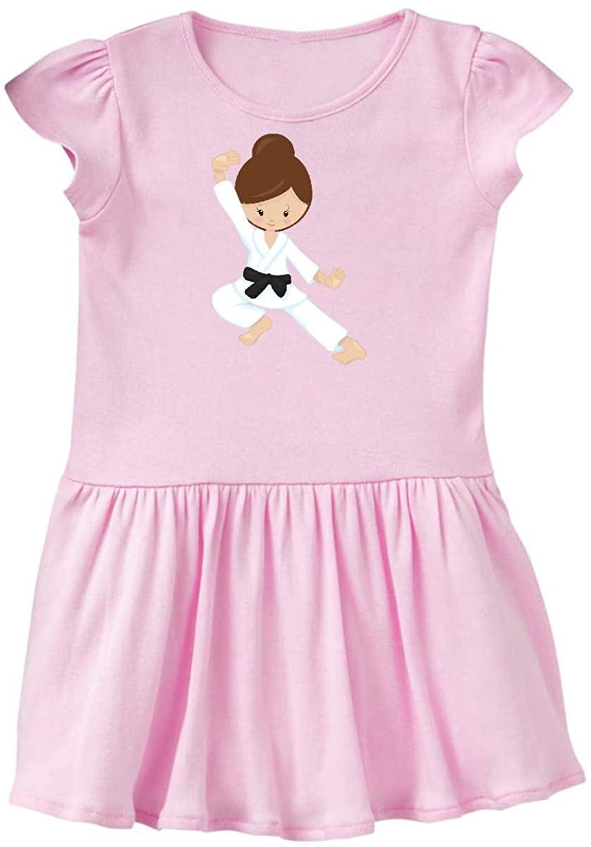 inktastic Cute Girl, Brown Hair, Black Belt, Karate Pose Toddler Dress