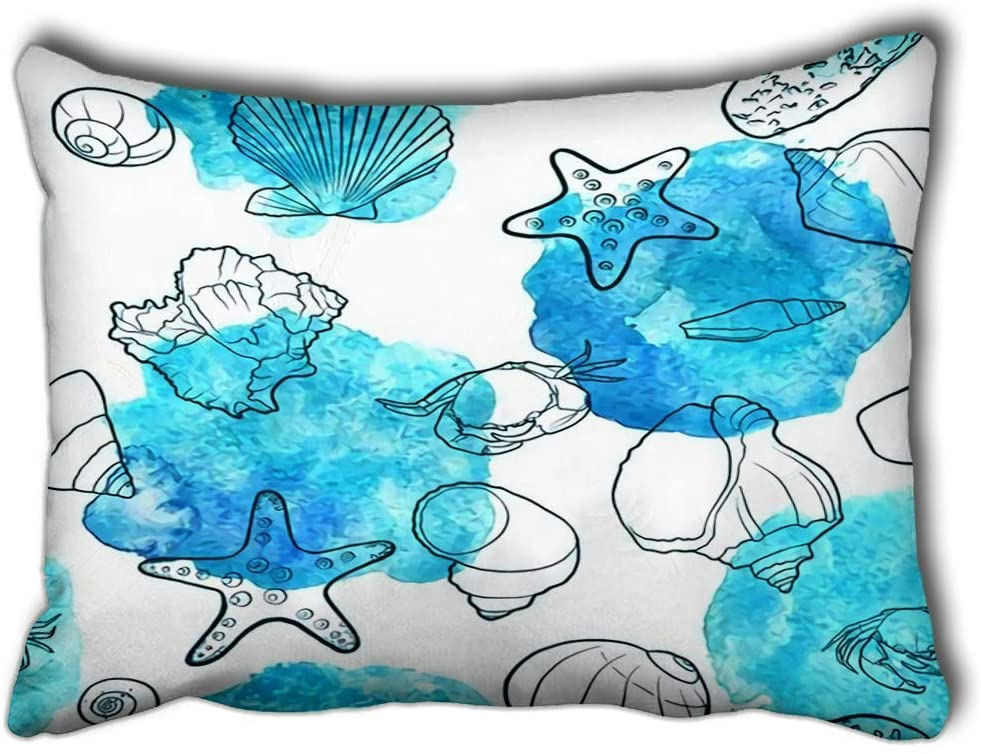 Z&J store Pillow Case Drawing sea Shells and Blue Paint Stains Ocean New Living Room Sofa Car Rectangle 20X30