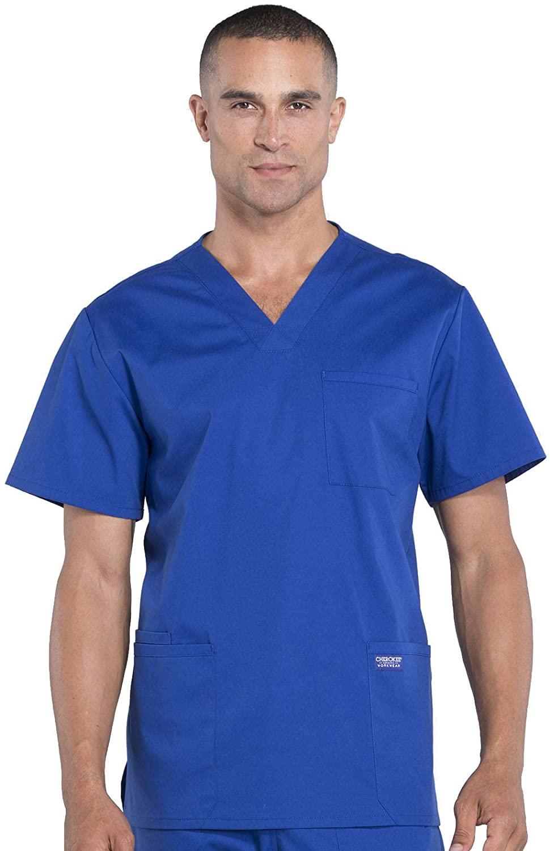 CHEROKEE WW Professionals Men's V-Neck Scrub Top, WW695, XL, Galaxy Blue