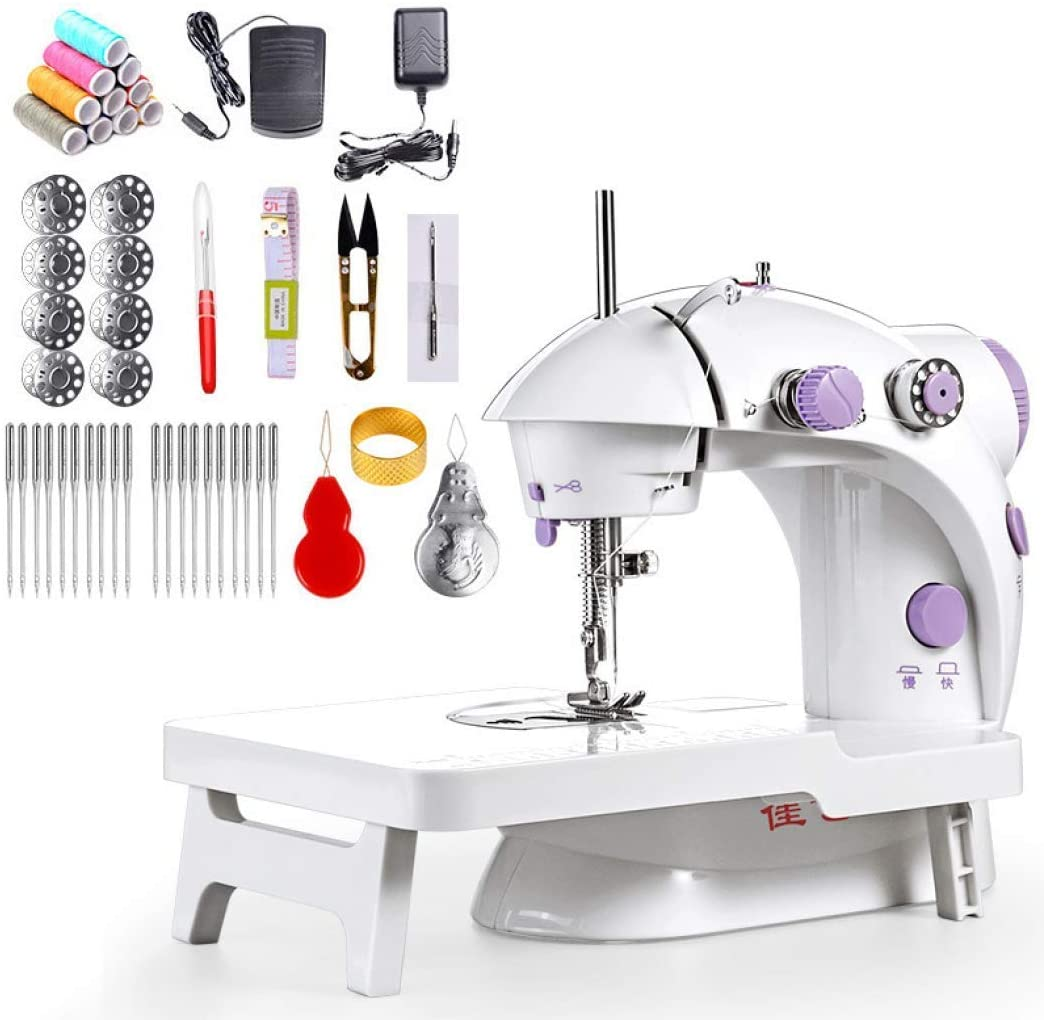 L.HPT Portable Sewing Machine, White Portable Basic Electric Sewing Machine with Extension Table and Thread Needle Set for Beginner, H/L Speed (British Standard)