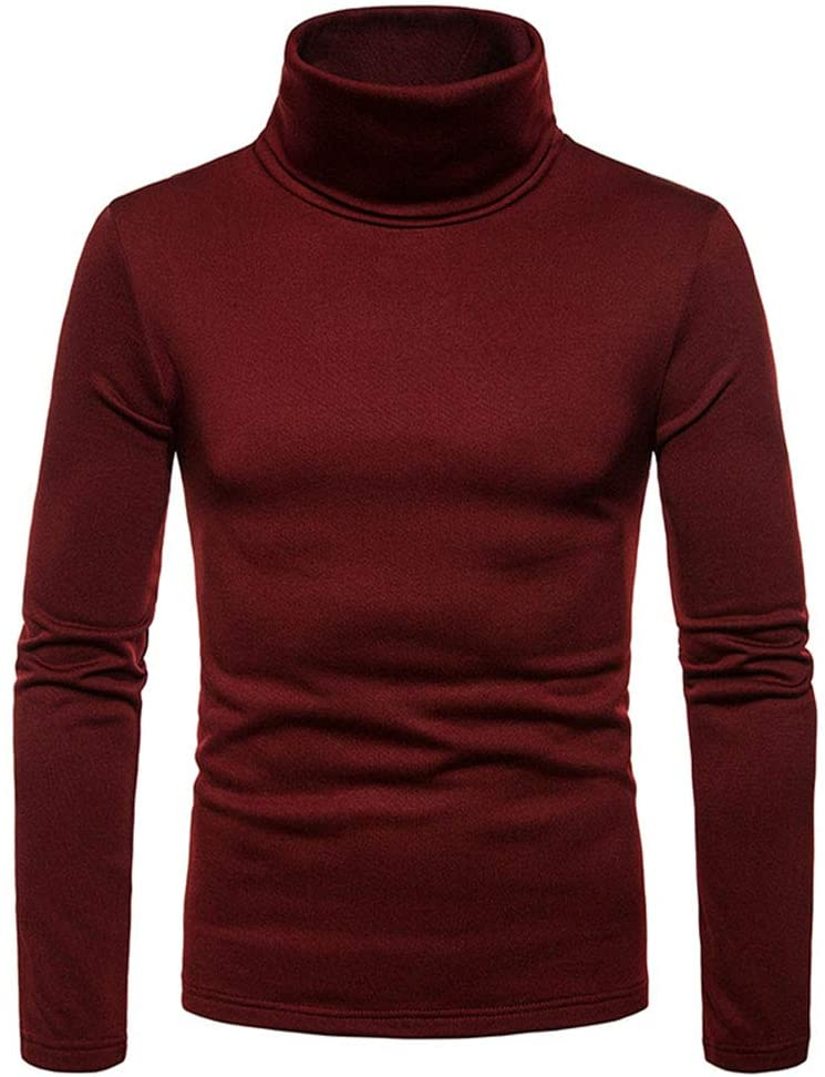 redcolourful Men Thermal Cotton High Neck Sweaters Stretch Turtleneck Shirt Tops Red Wine XL Cloth