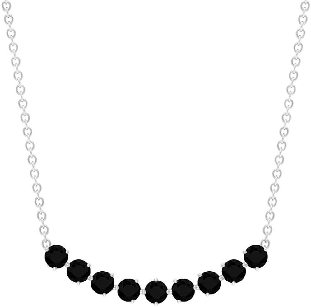 Curved Bar Necklace, 0.58 CT Round Shaped 2.50 MM Black Diamond, April Birthstone Jewelry, Curved Bar Pendant, Solid Gold Jewelry For Her