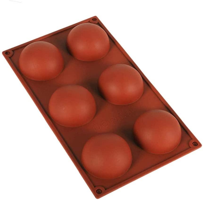 NUOCHUANG DIY 6-hole Hemispherical Mold, Silicone Cake Mold is Used to Make Chocolate Ball Mousse Cake Dessert Pudding