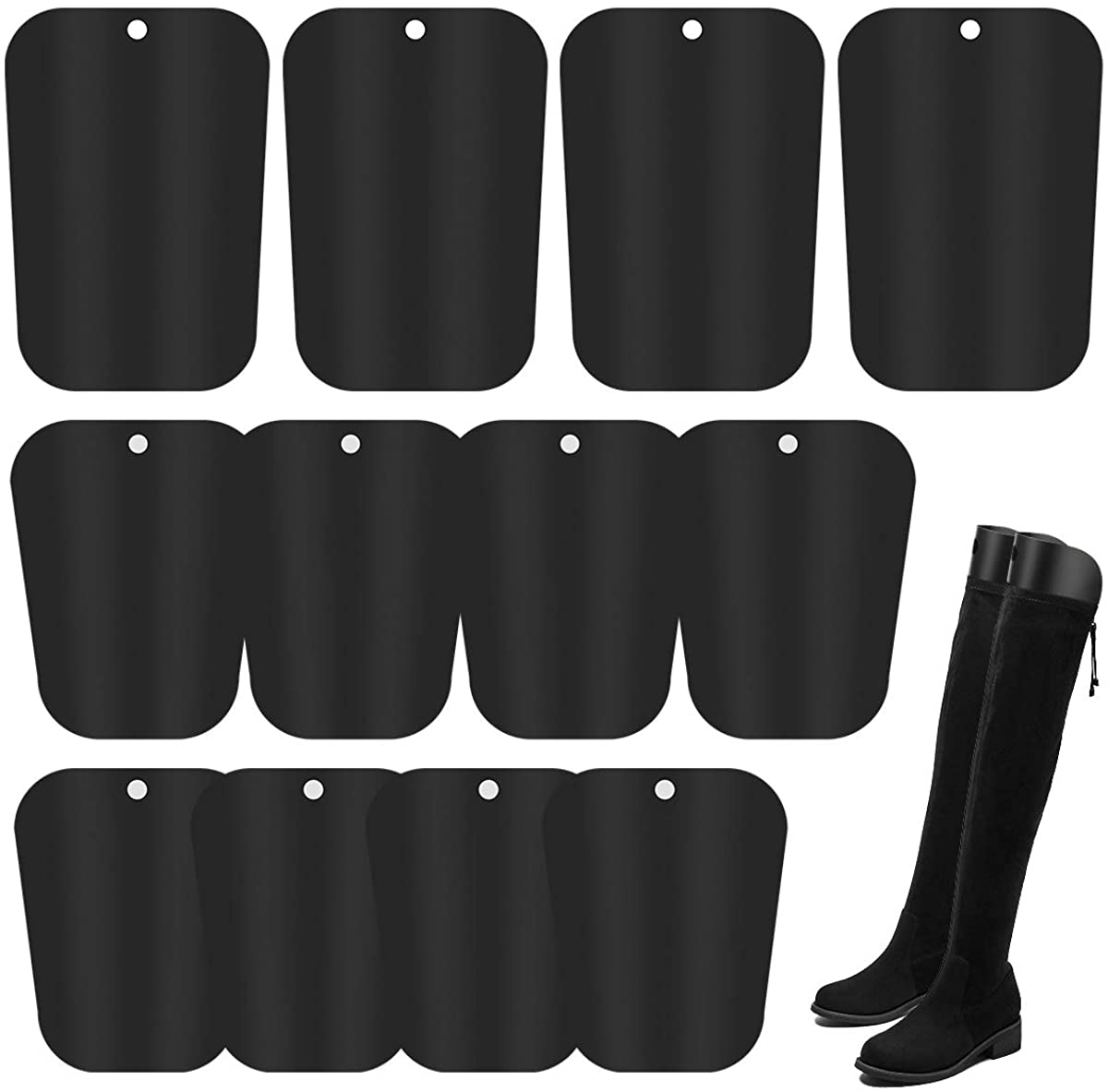 AHIER 6 Pairs Boot Shapers, 3 Size Boot Shaper Form Inserts 12/14/16inch, Tall Boot Support for Women and Men Black
