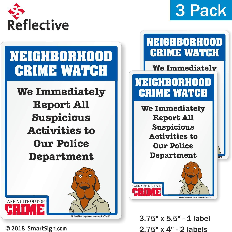 SmartSignNeighborhood Crime Watch McGruff Decal Set | Two 2.75x4 & One 3.75x5.5 EG Reflective Adhesive Decals