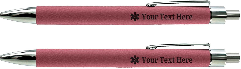 Custom Pens Star of Life EMS Pens for EMT Engraved Pink Leatherette 2-Pack Gift Personalized Pen Set