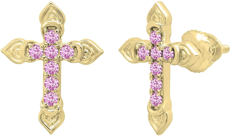 Dazzlingrock Collection Round Gemstone Ladies Cross Stud Earrings, Available in Various Gemstones in 10K/14K/18K Gold & 925 Sterling Silver