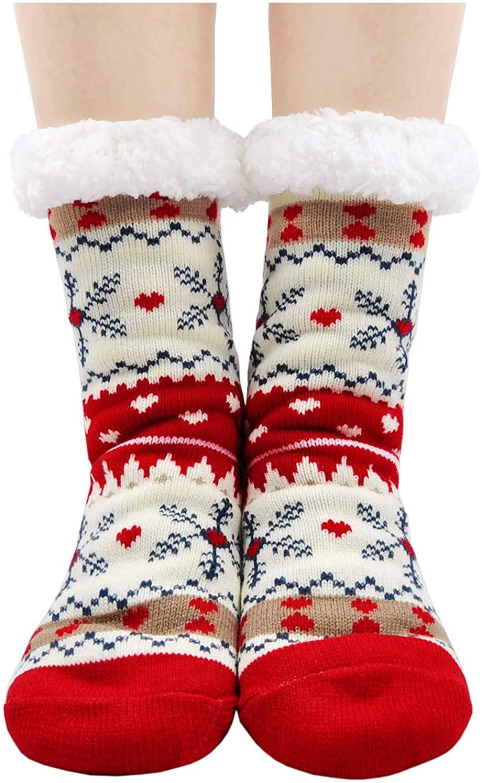 Women Slipper Socks Cute Animal Cozy Warm Winter Fuzzy House Sock with Gripper Christmas Socks