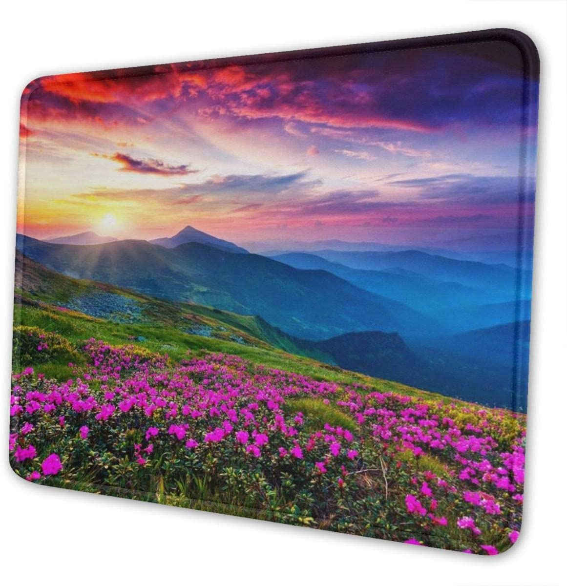 Mouse Pad Nature Purple Flowers Meadow Mountain Scenic Office Accessories Rectangle Waterproof Mousepad with Stitched Edge Premium-Textured Non-Slip Rubber Base 10×12 inch Mouse Mat