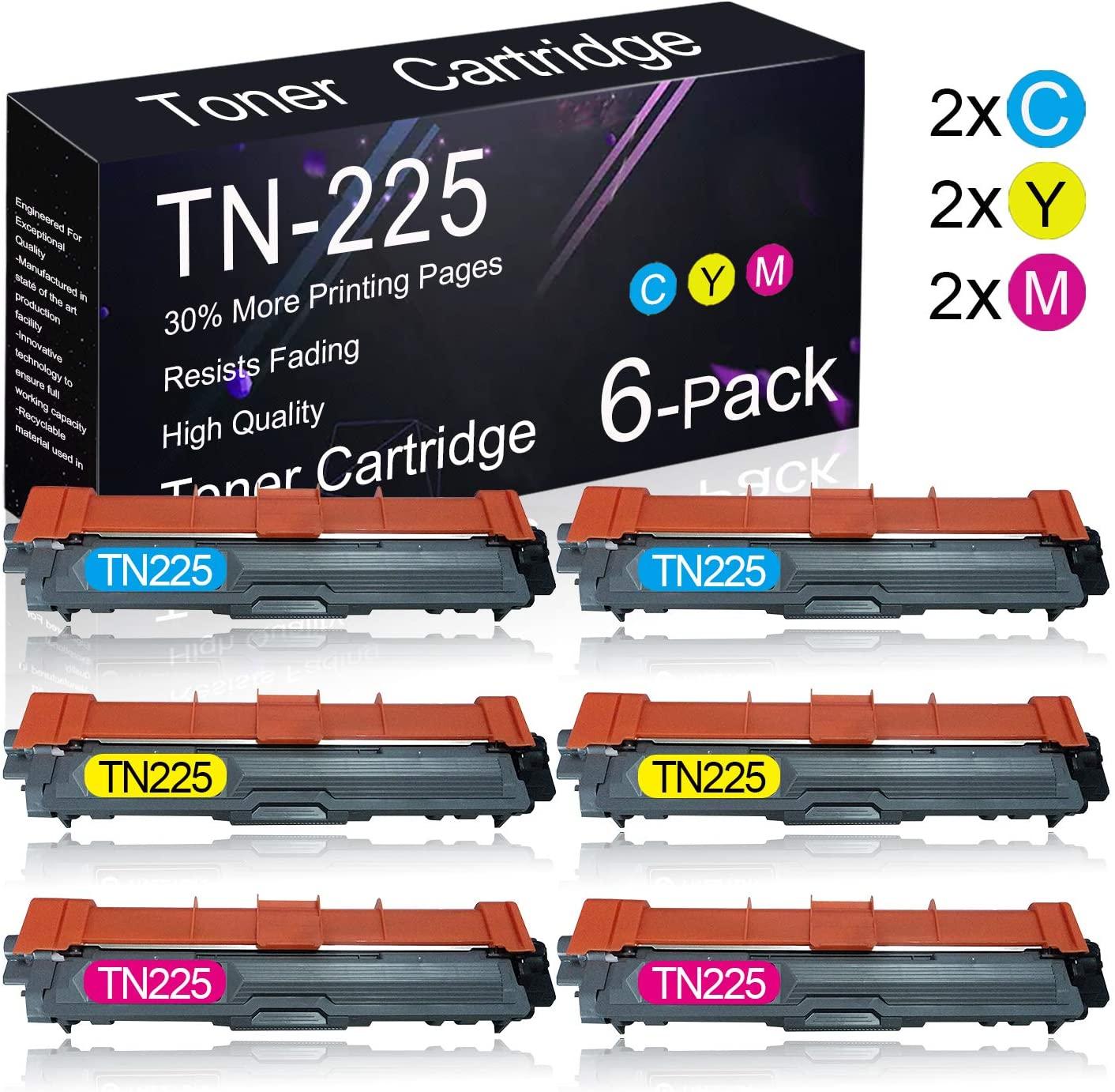 6 Pack TN225 (2C+2Y+2M) Compatible Toner Cartridge Replacement for Brother HL-3140CW/ 3150CDN/ 3170CDW/ 3180CDW, MFC-9130CW/ 9140CDN/ 9330CDW/ 9340CDW, DCP-9015CDW/ 9020CDN Printers.
