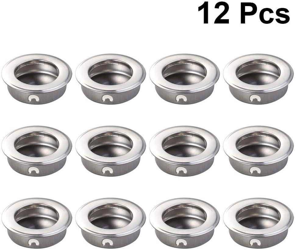 DOITOOL 12PCS Sliding Closet Door Finger Pulls for Cabinet and Sliding Doors Easy Snap in Installation Stainless Steel Finger Pull Handle (35mm)