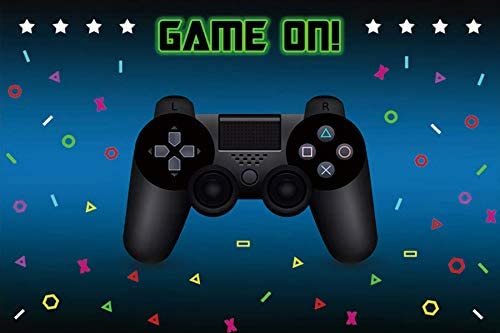 Baocicco 5x3ft Game On Backdrop Black Gamepad Photography Background Game Boy's Birthday Party Supplies Game Boy Baby Shower Video Game Party Decoration Little Boy Baby Portrait Photo Booth Props