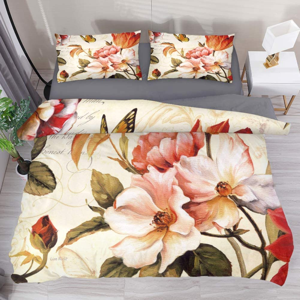 LvShen Butterfly Yellow Vintage Flowers Bedding Sets Queen Size 3 Pieces Printed Sheets Bed Coverlet Duvet Cover Set with 2 Pillow Cases Shams for Home Women Men